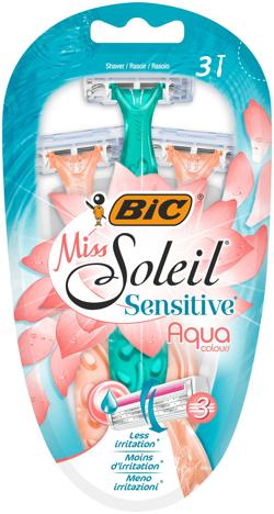 "Bic Maszynka do golenia Miss Soleil 3 Sensitive Aqua Colours 1op.-3szt"""