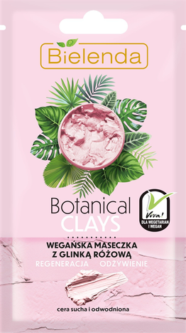 Bielenda Botanical Clays Różowa Glinka Wegańska Maseczka na twarz cera sucha i wrażliwa 8g