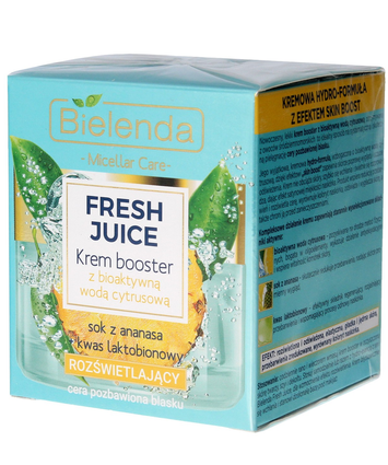 Bielenda Fresh Juice Krem Booster rozświetlający z wodą cytrusową Ananas 50 ml