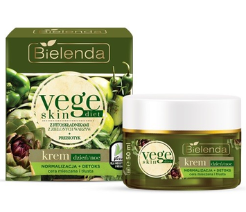 Bielenda Vege Skin Diet Krem Normalizacja + Detoks cera mieszana i tłusta na dzień i noc 50 ml