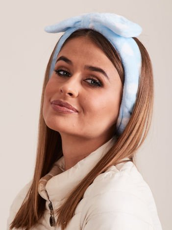 Błękitna Pluszowa Opaska Na Włosy Z Kokardą W Grochy