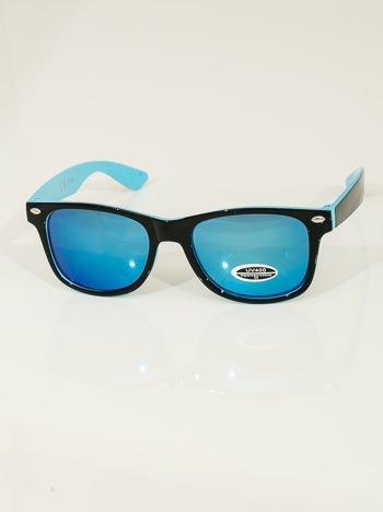 Błekitne  Dziecięce lustrzanki z filtrami UV okulary z klasyczną oprawką WEYFARER NERD odporne na wyginania