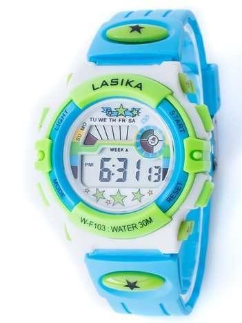 Błękitno-zielony zegarek młodzieżowy wielofunkcyjny z datą i alarmem
