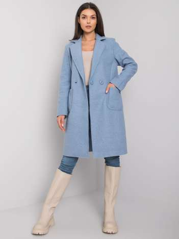 Błękitny klasyczny płaszcz Damme OCH BELLA
