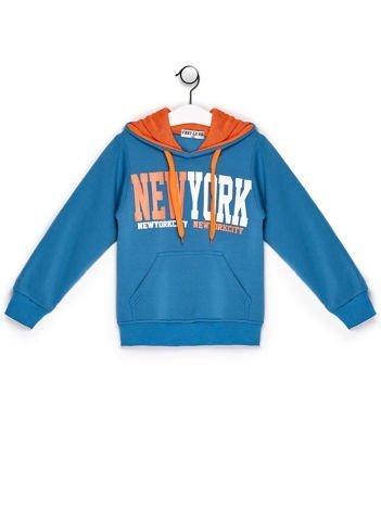 Bluza chłopięca z kapturem i napisem NEW YORK turkusowa
