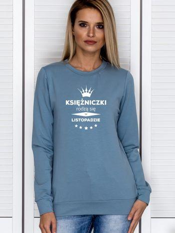 Bluza damska KSIĘŻNICZKI z nadrukiem korony niebieska