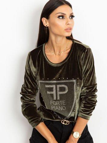 Bluza damska aksamitna z aplikacją z perełek i dżetów khaki