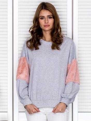 Bluza damska oversize z ozdobnym futerkiem jasnoszara