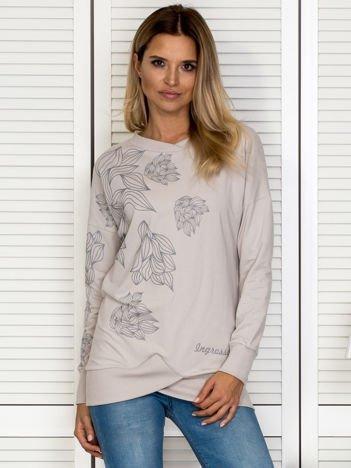 Bluza damska w roślinne motywy jasnobeżowa