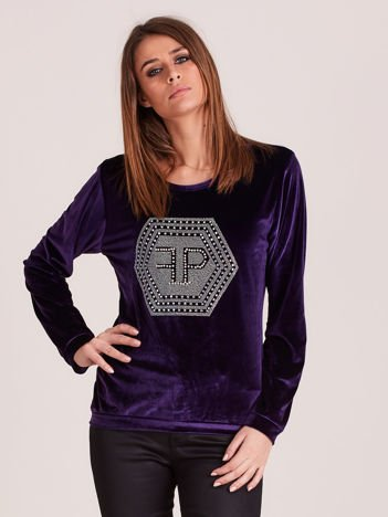 Bluza damska welurowa z błyszczącymi kamykami fioletowa