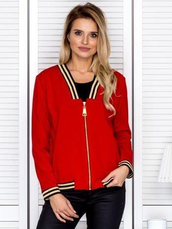 Bluza damska z błyszczącym ściągaczem czerwona
