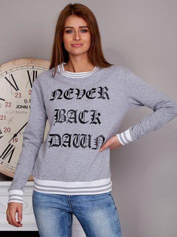 Bluza damska z gotyckim napisem szara