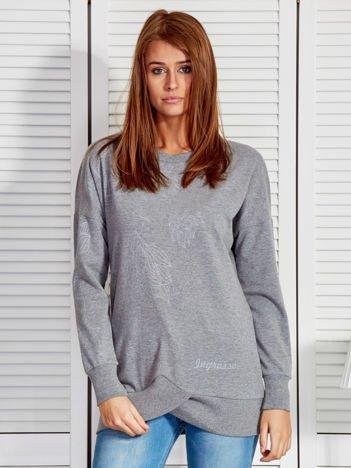Bluza damska z graficznymi nadrukami ciemnoszara