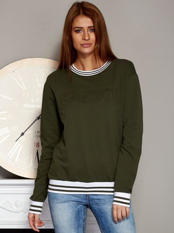 Bluza damska z napisem 3D khaki