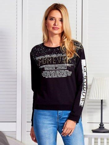 Bluza damska z napisem z perełek czarna