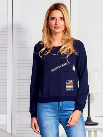 Bluza damska z naszywkami granatowa