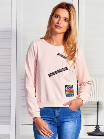 Bluza damska z naszywkami jasnoróżowa
