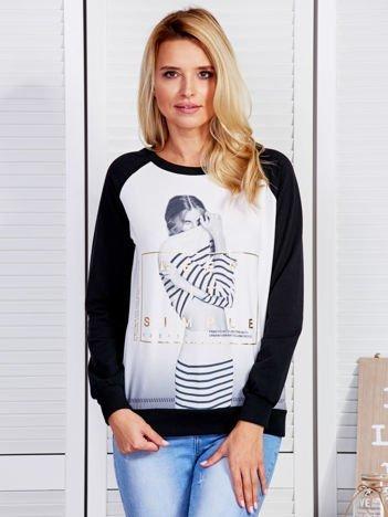 Bluza damska z portretem dziewczyny czarna