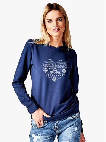 Bluza damska z sercem w norweskie wzory granatowa