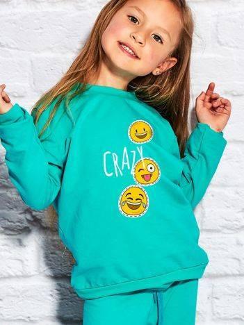 Bluza dla dziewczynki z motywem emoji zielona