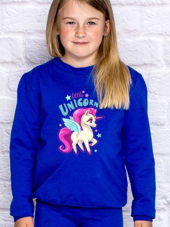 Bluza dla dziewczynki z motywem jednorożca ciemnoniebieska