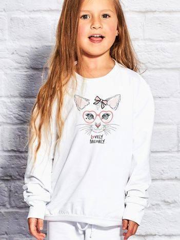 Bluza dla dziewczynki z nadrukiem kota biała