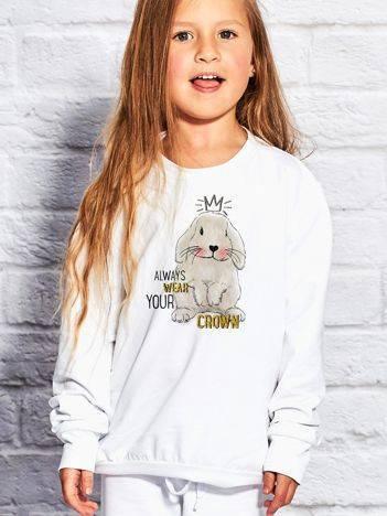 Bluza dla dziewczynki z nadrukiem królika biała