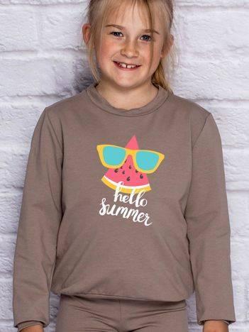 Bluza dla dziewczynki z napisem HELLO SUMMER kawowa