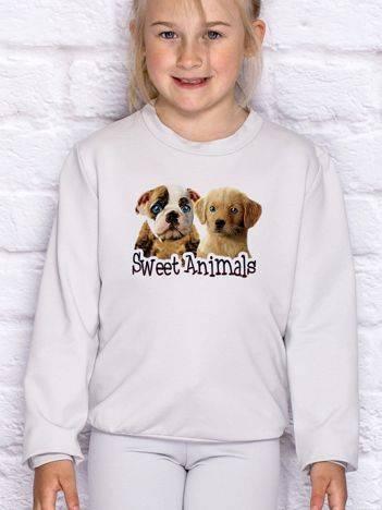 Bluza dla dziewczynki z pieskami jasnoszara