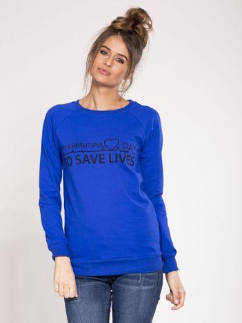 Bluza dresowa niebieska z nadrukiem