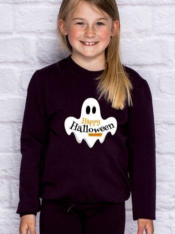 Bluza dziecięca z nadrukiem HAPPY HALLOWEEN ciemnofioletowa