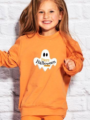 Bluza dziecięca z nadrukiem HAPPY HALLOWEEN pomarańczowa