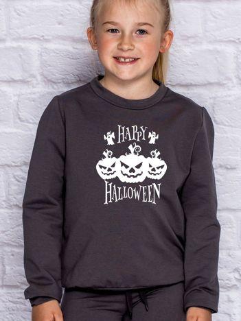 Bluza dziecięca z nadrukiem dyni Halloween ciemnoszara