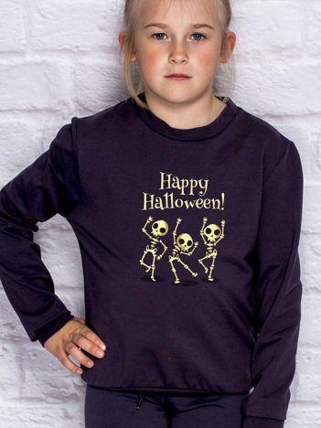 Bluza dziecięca z nadrukiem na Halloween ciemnogranatowa