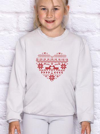 Bluza dziecięca ze świątecznym nadrukiem jasnoszara