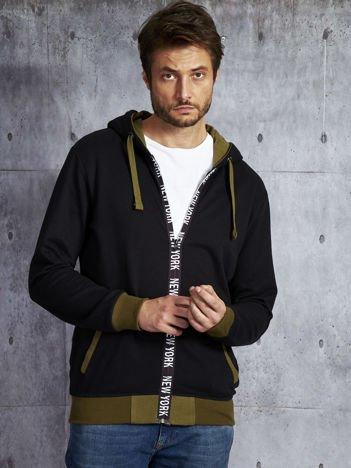 Bluza męska czarna z napisem na suwaku