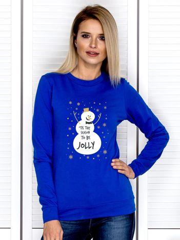 Bluza świąteczna damska z nadrukiem bałwanka kobaltowa