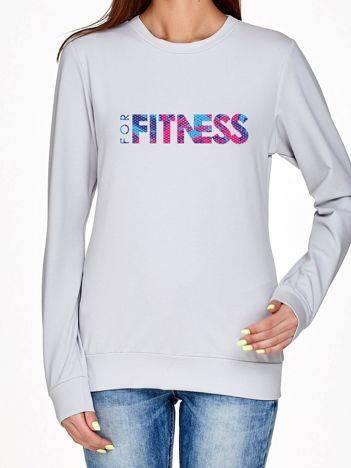 Bluza z ażurowym napisem FOR FITNESS jasnoszara