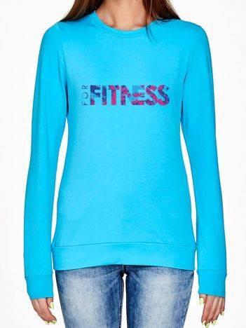Bluza z ażurowym napisem FOR FITNESS turkusowa