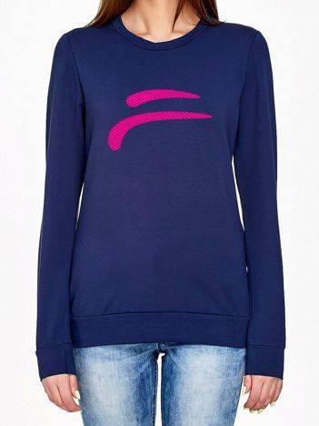 Bluza z kolorowym logotypem granatowa
