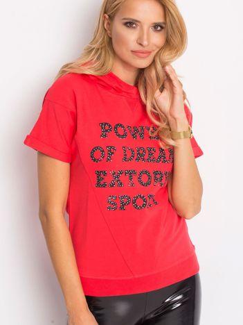 Bluza z krótkim rękawem i napisem POWER OF DREAM koralowa