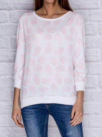 Bluza z nadrukiem dłoni różowa