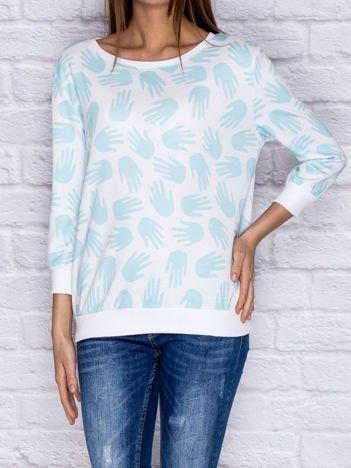 Bluza z nadrukiem dłoni turkusowy