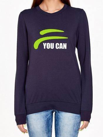 Bluza z nadrukiem napisu YOU CAN grafitowa