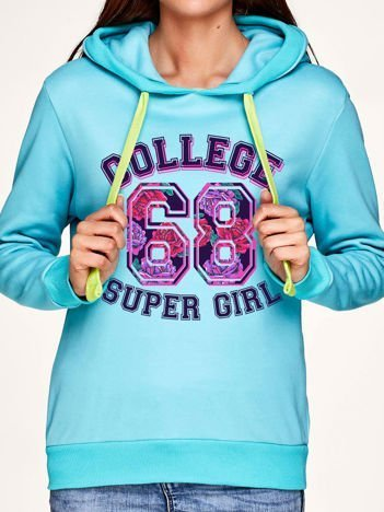 Bluza z napisem COLLEGE SUPER GIRL 68 i kapturem turkusowa