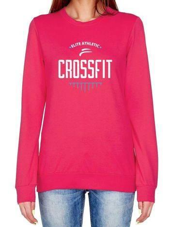 Bluza z napisem CROSSFIT ciemnoróżowa
