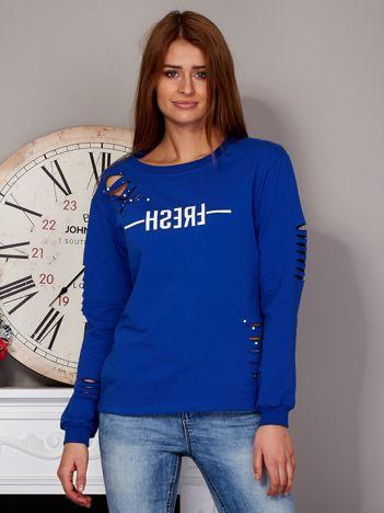 Bluza z napisem i rozcięciami niebieska