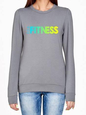Bluza z ombre nadrukiem FOR FITNESS z przodu szara