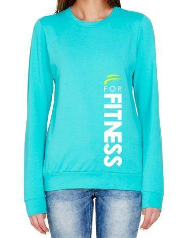Bluza z pionowym napisem FOR FITNESS turkusowa