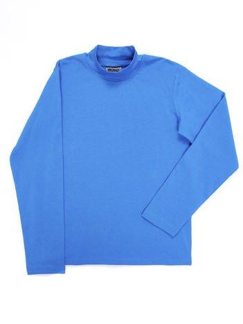 Bluzka bawełniana dziecięca niebieska z półgolfem